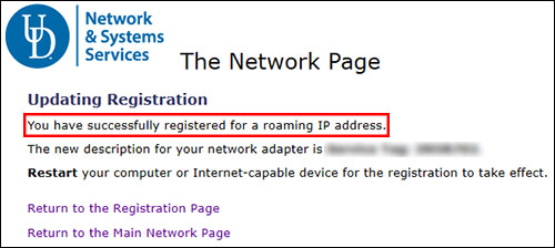 Windows Wi-Fi Screen Capture - Success Registration