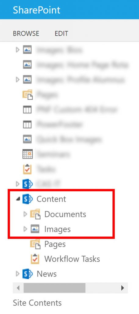 Sharepoint Contents Folder screen capture
