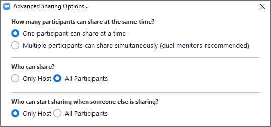 Use Zoom Advanced Sharing