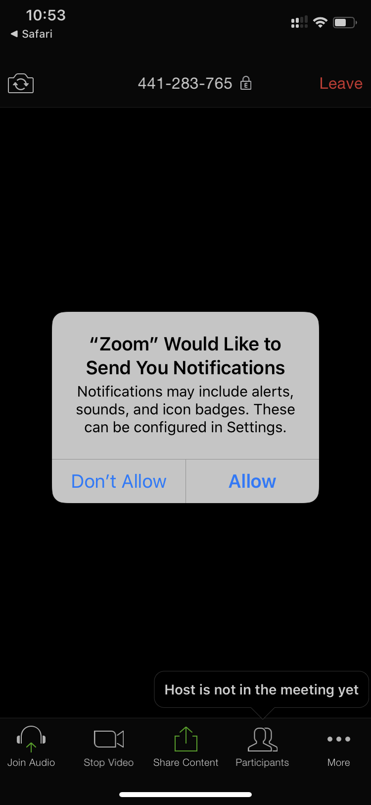 Zoom Mobile Test Send Notification