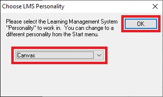 Respondus 4.0 - Choose LMS Personality window
