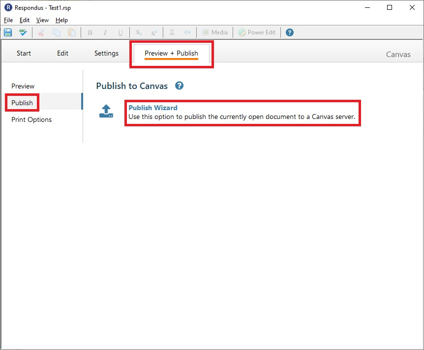 Respondus 4.0 - Preview and Publish Screen Capture