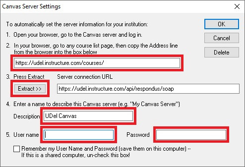 Respondus 4.0 - Canvas Server Settings Screen Capture